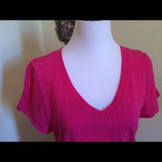 Pink top Style &Co. Top from Macy's. Short sleeves and elastic gathering at sides. Machine wash in cold water on gentle cycle. Measures from V neck bottom to hem at approximately 25 inches. Style & Co Tops