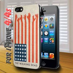 the walking dead american flag Black Case for