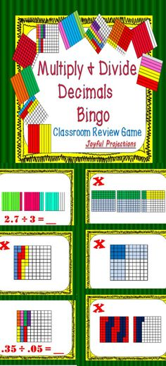 Print and laminate the 35 included Bingo cards and then project slides showing different representations of decimal operations. Illustrations represent: multiplying whole numbers by decimals, multiplying decimals by decimals dividing whole numbers by deci Math Teacher, Math Classroom, Teaching Math, Teaching Ideas, Multiplying Decimals, Dividing Decimals, Fractions, Math Skills, Math Lessons