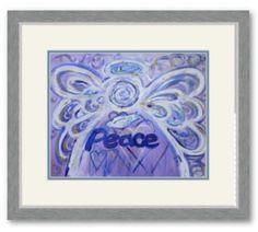 Peace Angel Art Framed Poster Print Silver