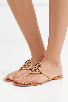 Tory Burch | Miller logo-embellished leather sandals | NET-A-PORTER.COM