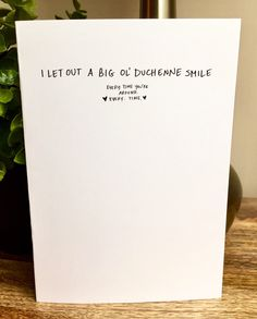 You make me smile, love card, One Year Anniversary Card for husband, Paper Anniversary, duchenne smile, handwritten love note by SideSandwich on Etsy