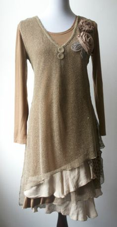 Pretty Angel Boho Gypsy Vintage Peasant Layered Dress Two Pieces Mix Match