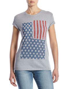 Lucky Brand Inverse Flag Tee Womens - Steel Heather (S)