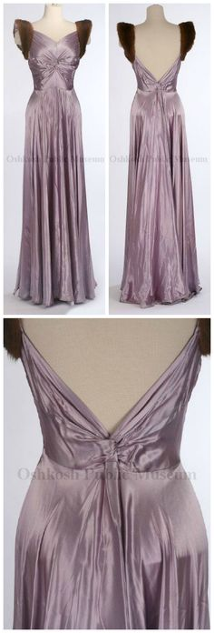Dress, Kathleen, INC./New York, 1939. Evening gown of lavender silk with V-neck bodice; fabric from armhole twisted in front and extending back to side seams, sleeveless with mink fur trim around armholes; skirt is fitted at waist and flares out to form a full circle at hem; back bodice forms a deep V-twist; side zipper closure. Part of trousseau when Helen Brainard Cutler married John Keyes Winter on January 19, 1940. Oshkosh Public Museum.