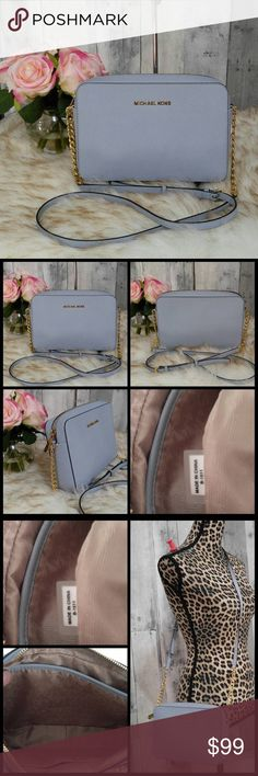 """Blue Michael Kors Jet Set Crossbody Pretty sky blue Michael Kors Crossbody. Gold hardware and adjustable strap. Zips closed. Great spring color!! New without tags  9.5"""" wide and 7.5"""" tall approx  100% authentic. No trades please Michael Kors Bags Crossbody Bags"""