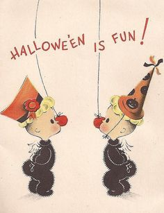 Vintage 1950's Halloween Card..    via pinterest