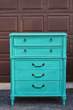 Patina Green Dresser with Lion Head Pulls - Primitive and Proper