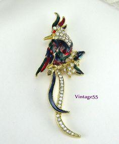 Vintage Brooch Bird Cockatoo Enamel Rhinestone by Vintage55, $18.00