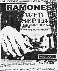 The Ramones plus secret guest at The Whisky Sept 1986 Tour Posters, Band Posters, Music Posters, Punk Poster, Gig Poster, Whisky A Go Go, Music Tours, Vintage Concert Posters, Iggy Pop