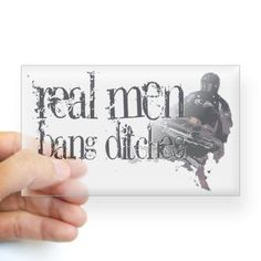 Real Men Bang Ditches Rectangle Sticker