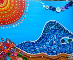 Button Wave Acrylic with Buttons on Canvas