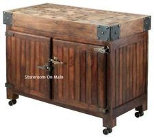 Large Distressed Kitchen Island Butcher Block Top Cottage Ice Chest