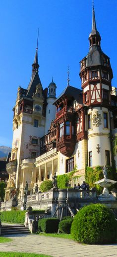 Why Peles castle is the one place you can't miss in Romania. We spent a month in Romania, based in Brasov. We saw Bran castle, but it was Peles that. Places Around The World, Oh The Places You'll Go, Travel Around The World, Places To Travel, Places To Visit, Around The Worlds, Peles Castle, Medieval Castle, Carpathian Forest