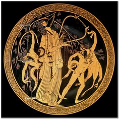 Dionysus, flanked by sileni (or satyrs).  Interior of an Attic red-figure cup, attributed to the Brygos Painter; ca. 480 BCE.  Now in the Cabinet des Médailles, Paris.
