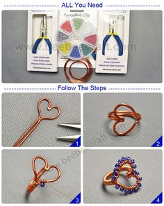 Tutorials on making a heart-shipped with and mental wire. Wire Jewelry Rings, Wire Jewelry Designs, Copper Jewelry, Jewelry Crafts, Beaded Rings, Copper Wire, Jewlery, Wire Wrapped Pendant, Wire Wrapped Jewelry