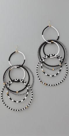 Beaded multi hoop earrings...would be easy to #DIY w/ seed beads, tigertail & crimps.