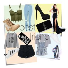 """Bestfriend and me"" by akamela ❤ liked on Polyvore featuring Post-It, Topshop, Puma, Nobody Denim, T By Alexander Wang, adidas, Rachel Allan, Giuseppe Zanotti, Dsquared2 and NIKE"