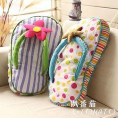 Tomato ocean cushion pillow flip flops fabric print soft home