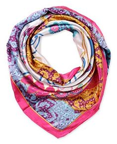 corciova Women's Fashion Pattern Large Square Satin Headscarf Headdress 90cm Hot Pink $9.99 Free Shipping