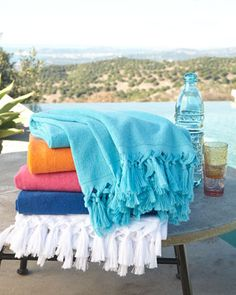 Fouta Beach Towel | Scents and Feel | Lightweight and super-absorbent, this fringed fouta beach towel — light terry on one side and striped on the other — makes the perfect summer companion.