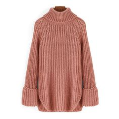 SheIn(sheinside) Pink High Neck Split Loose Sweater ($28) ❤ liked on Polyvore featuring tops, sweaters, pink, red cowl neck sweater, acrylic sweater, sweater pullover, pink cowl neck pullover e red top