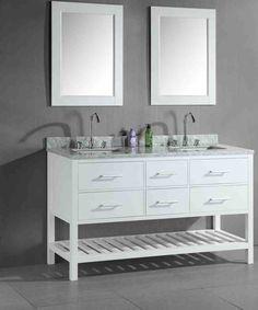 Design Element London 61 Inch Double Sink Vanity Set In White / Carrara Marble Top Oak Bathroom Vanity, Bathroom Sink Cabinets, Double Sink Bathroom, Double Sink Vanity, Bathroom Red, Vanity Sink, Bathroom Furniture, Modern Bathroom, Bathroom Ideas