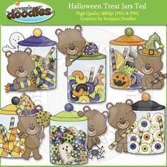 Halloween Treat Jars Ted Clip Art Download