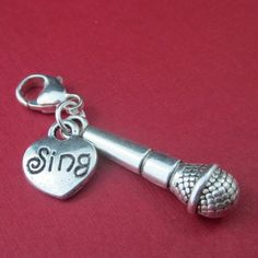 Microphone clip on charm lobster clasp zipper pull accessory sterling | Thesingingbeader - Accessories on ArtFire