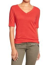 Women's Linen-Blend V-Neck Tees  I bet this feels so good on.. Love this color too.