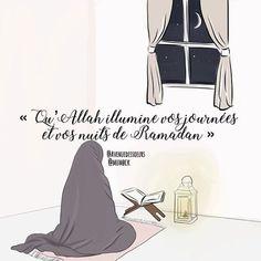 """Ramadan Moubarak ! . Qu'Allah illumine vos journées et vos nuits durant ce mois béni 🌙 🕌 🧡 . A cette occasion je partage avec vous ces modestes conseils ... - Interrogeons et renouvelons notre intention afin que notre jeûne et nos œuvres pieuses ne soient tournés que vers Allah soubhanahou wa ta'ala... Ne soyons pas de celles qui jeûnent parce que tout le monde le fait, parce que c'est un bon moment à partager, ou encore pour montrer aux autres que nous sommes des """"bonnes musulmanes""""… Bon Ramadan, Islam Ramadan, Quran Quotes, Qoutes, Ramzan Mubarak Image, Quran Book, Prayer For Protection, How To Focus Better, Mubarak Images"""