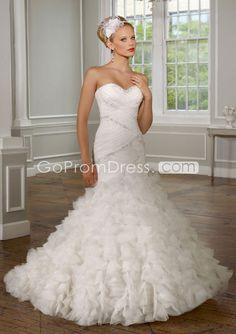 Mermaid Tulle Pleated Ruffles Chapel Train Wedding Dress