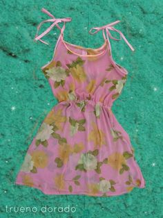 #dress #pink #floral #tank #tide #vintage #fabric #gauze #chiffon #trueno #design
