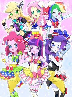 #1209666 - applejack, artist:ryuu, belly button, equestria girls, fluttershy, idol, mane six, midriff, pinkie pie, pripara, rainbow dash, rarity,…