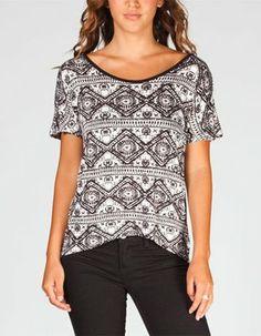 82266e2e Full Tilt Black/White Ethnic Print Cross Tee Blouse Size 4 (S) 29% off  retail
