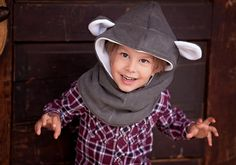 Bear Fleece Hat Kids Hooded Cowl Bear Hat for by MondoRotondo