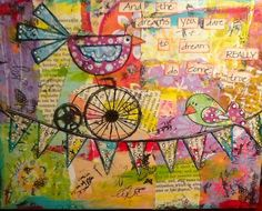 Mixed Media Bird on a Wire Canvas. $25.00, via Etsy.