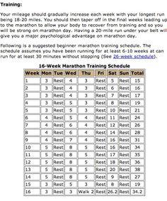 16-Week Marathon Training Schedule