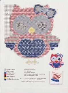 4TH OF JULY OWL WITH BOW by LISSA MITCHELL -- WALL HANGING
