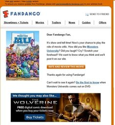 Fandango follows up ticket purchases with a timely, relevant email.
