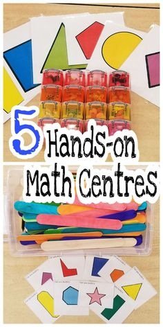 5 hands-on math centres to use with young kids. All of these centres were successfully used by over 100 kids aged 3-6. They provide a great alternative to pencil and paper tasks. The centres focus on identifying, representing and working with various shapes.