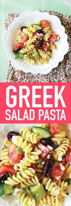 This Greek Salad Pasta recipe replaces mayonnaise with a light oil and vinegar dressing, and gets bundles of flavour from feta, olives and raw vegetables.