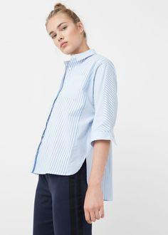 Çizgili koton gömlek | MANGO