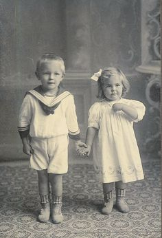 Sweet vintage photo of little boy & girl