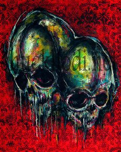 Print 8x10  Two  Skulls Skeletons Dark Art Abstract by chuckhodi, $7.00