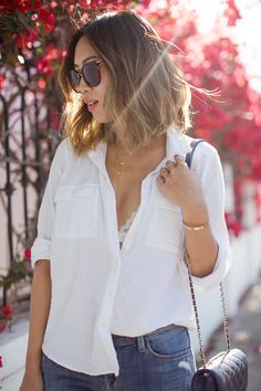 This Is The Classic Piece Every Girl Needs In Her Wardrobe - We Love Song Of Style's Breezy Summer Outfit See-Through Unbuttoned White Blouse With White Lace Bra
