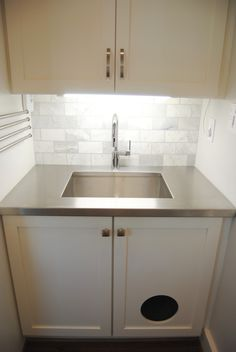 Hiding the cat box! Stainless steel sink, laundry room sink, small laundry room