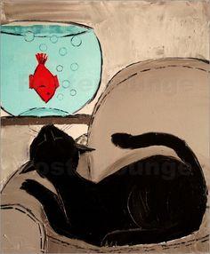 'Black cat with goldfish','Schwarze Katze mit Goldfisch' by JIEL.
