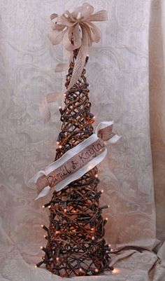Twig Topiary Cone 28in