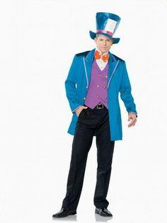 Wholesale Men's Role-playing Halloween Magician Costumes Coat+Vest+Tie One Color Blue  -$34.06